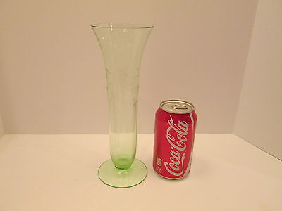 """Depression Green 9.5"""" Tall Etched Glass Vase Asian Chinese Bamboo Pattern Thin"""