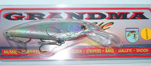 "6/"" Deep Shad Grandma Lure Crankbait Musky Pike Holoform MOP Mother of Pearl"