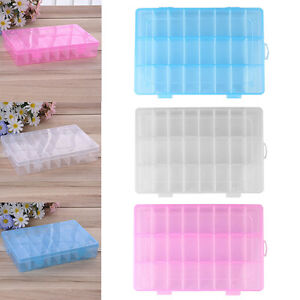 24-Compartments-Clear-Plastic-Jewelry-Craft-Container-Organizer-Storage-Case