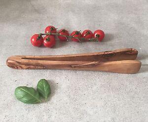 Olive Wood Tongs For Salad, Bbq, Cooking, Handcrafted, 10'' RafraîChissant Et BéNéFique Pour Les Yeux