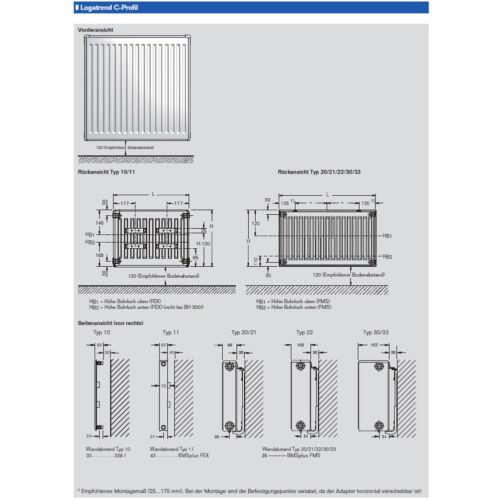 Buderus compatto Radiatori tipo 21 h500 x l1800 CON SUPPORTO E TAPPO