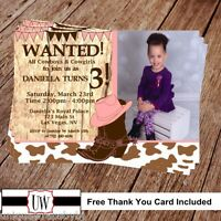 Printable Photo Cowgirl Birthday Invitation, Wanted Party Supplies Diy Country