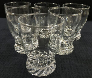 Set-of-6-Small-Clear-Glass-Juice-Glasses-Swirled-Weighted-Foot-5-Oz-Unbranded