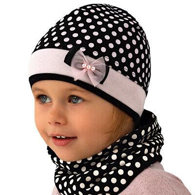 AJS Baby Mädchen Set Mütze Beanie Kindermütze Loopschal Schal mit Baumwolle