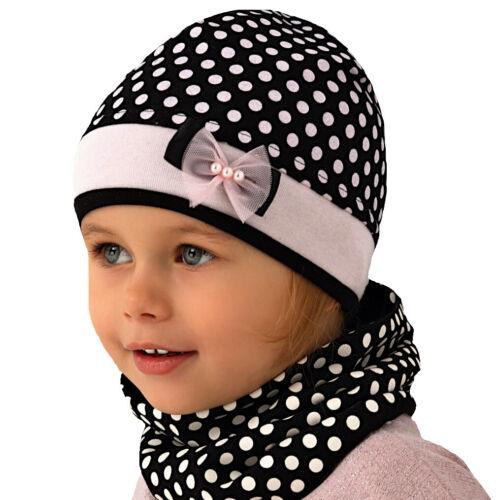 AJS Mädchen Set Mütze Kindermütze Loopschal Schal Punkte mit Baumwolle Frühling