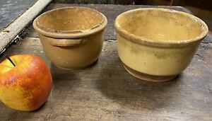 Lot de 2 Pot Terre Cuite Vernissée Art Populaire Ancien Plat Pot Cuisine
