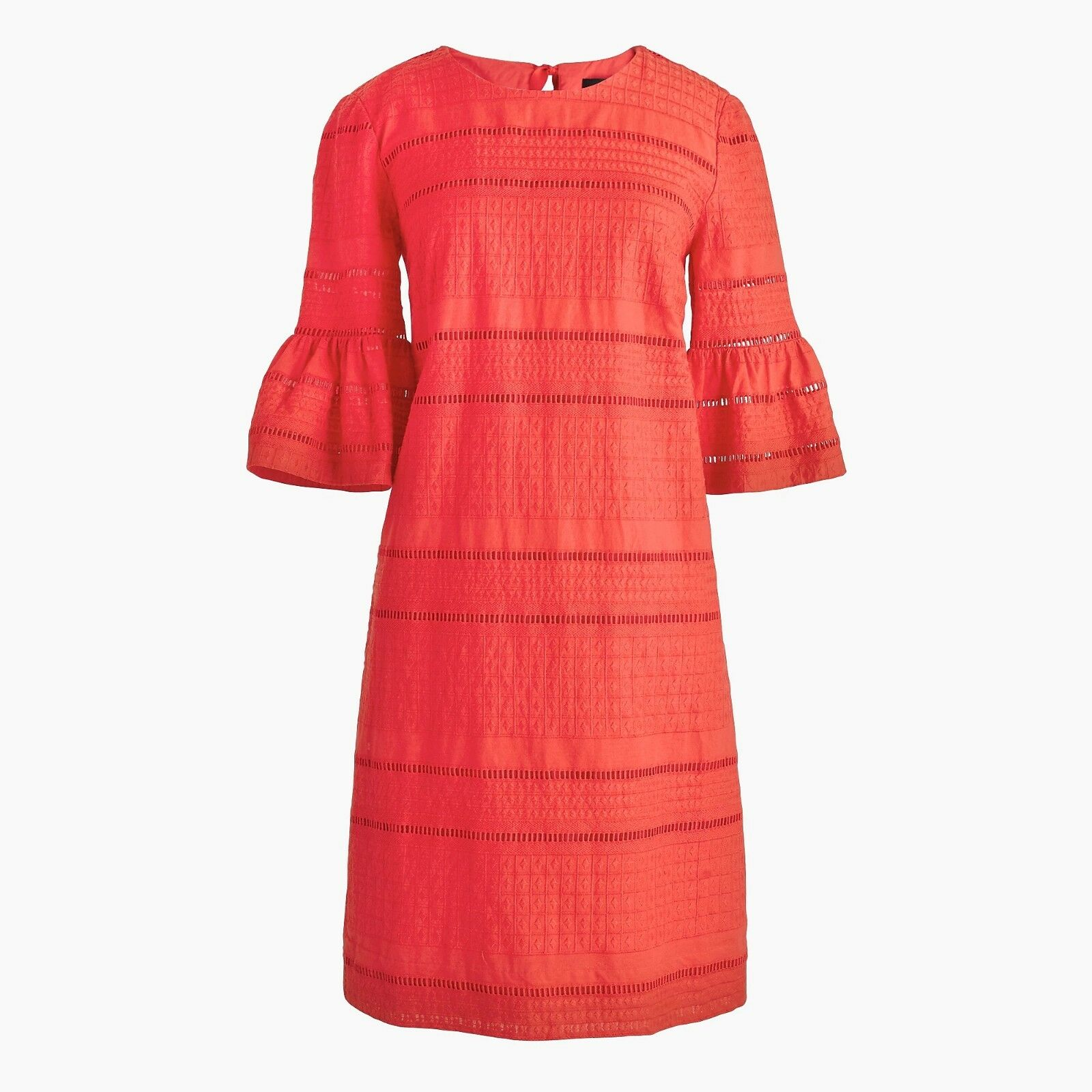 NWT J CREW Coral FLUTTER SLEEVE SHIFT DRESS IN EYELET Sz 4 Style G1269