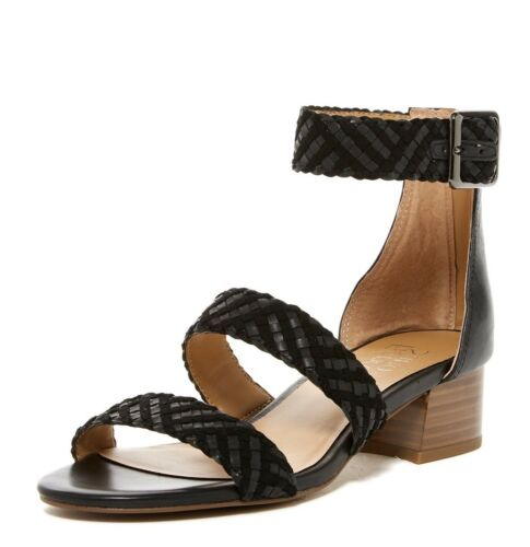 230746 FRANCO SARTO Womens /'Tate/' Black Woven Leather Sandals Sz 8 M