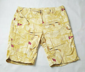 Loudmouth-Golf-Womens-Bermuda-Shorts-Size-10-Yellow-Beige-Cotton-Stretch