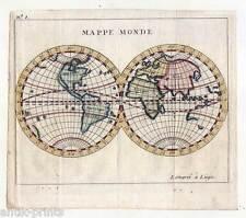 Weltkarte-Mappe Monde-World Map - Kupferstich-Karte Buffier um 1730
