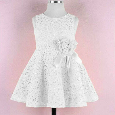 One Piece Kids Toddler Girl Party Dress Pure Lace Floral Sleeveless Skirt 2-7Y