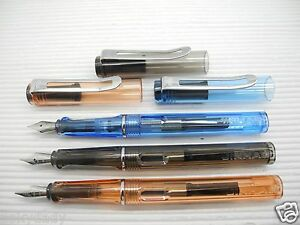 Claro Negro y Naranja y Azul JINHAO 599C Fountain Bolígrafo Medio Fino Nuevo En Caja/Con Convertidor