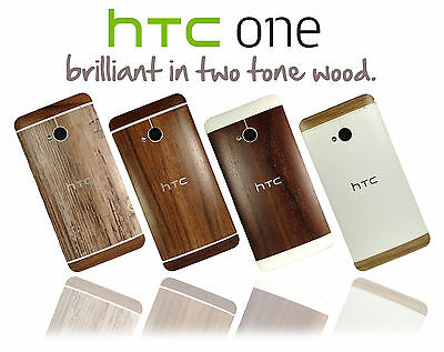 Two Tone Textured Wood Skin For HTC ONE M7 Wrap Cover Sticker Protector Case