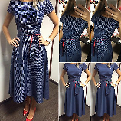 Women Summer Retro Vintage Bodycon Polka Dots Short Sleeve Belted Prom Tea Dress