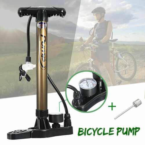 Aluminum Bicycle Bike Tyre Tire Air Inflator Pump Manometer With Pressure Gauge