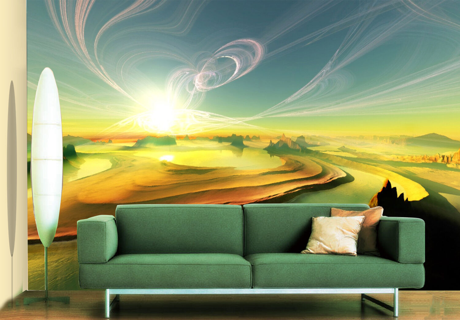 3D scenery river sunrise Wall Paper Print Decal Wall Deco Indoor wall Mural