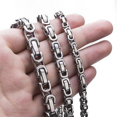 5 6 8 Mm Men S Necklace Stainless Steel Silver Tone Byzantine Chain Jewelry Ebay