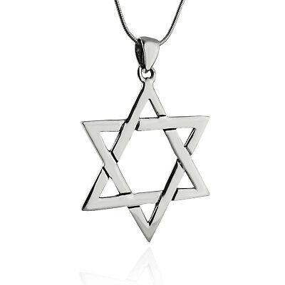 """Charm Sterling Silver Star of David with Chai Pendant 18/"""" Italian Box Chain"""
