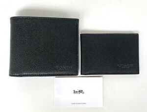 Coach-Men-039-s-Wallet-F59112-BLK-Compact-ID-in-Black-Leather