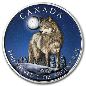 Kanada-5-Dollar-Silber-2011-Silbermuenze-Full-Moon-Wolf-in-Farbe-in-Muenzkapsel