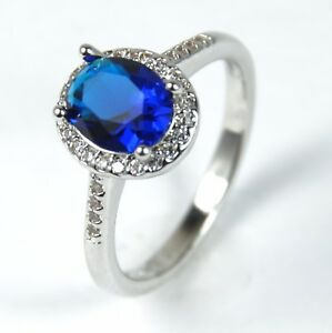 Women-039-s-18-Carat-White-Gold-plated-Blue-Cubic-Zircon-Ring-Jewellery
