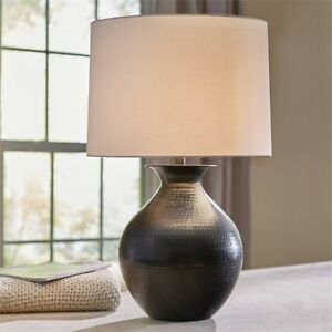 Image Is Loading Hammered Metal Table Lamp With Shade Country Primitive