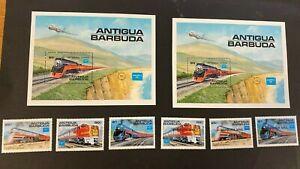 1986 TRAIN RAILWAY SET VF MNH GBUK ANTIGUA BARBUDA B241.6 START $0.99