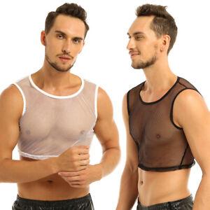 Da-Uomo-Maglia-Crop-Top-Gilet-vedere-attraverso-il-muscolo-Rete-T-shirt-Palestra-Tank-Top-Clubwear
