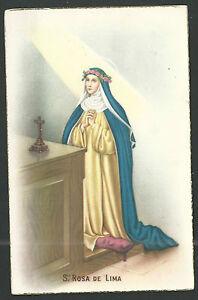 Postal-antigua-de-Santa-Rosa-de-Lima-andachtsbild-santino-holy-card-santini
