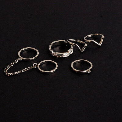 6Pcs/Set Gold Urban Rings Crystal Above Knuckle Stacking Band Midi Mid Ring