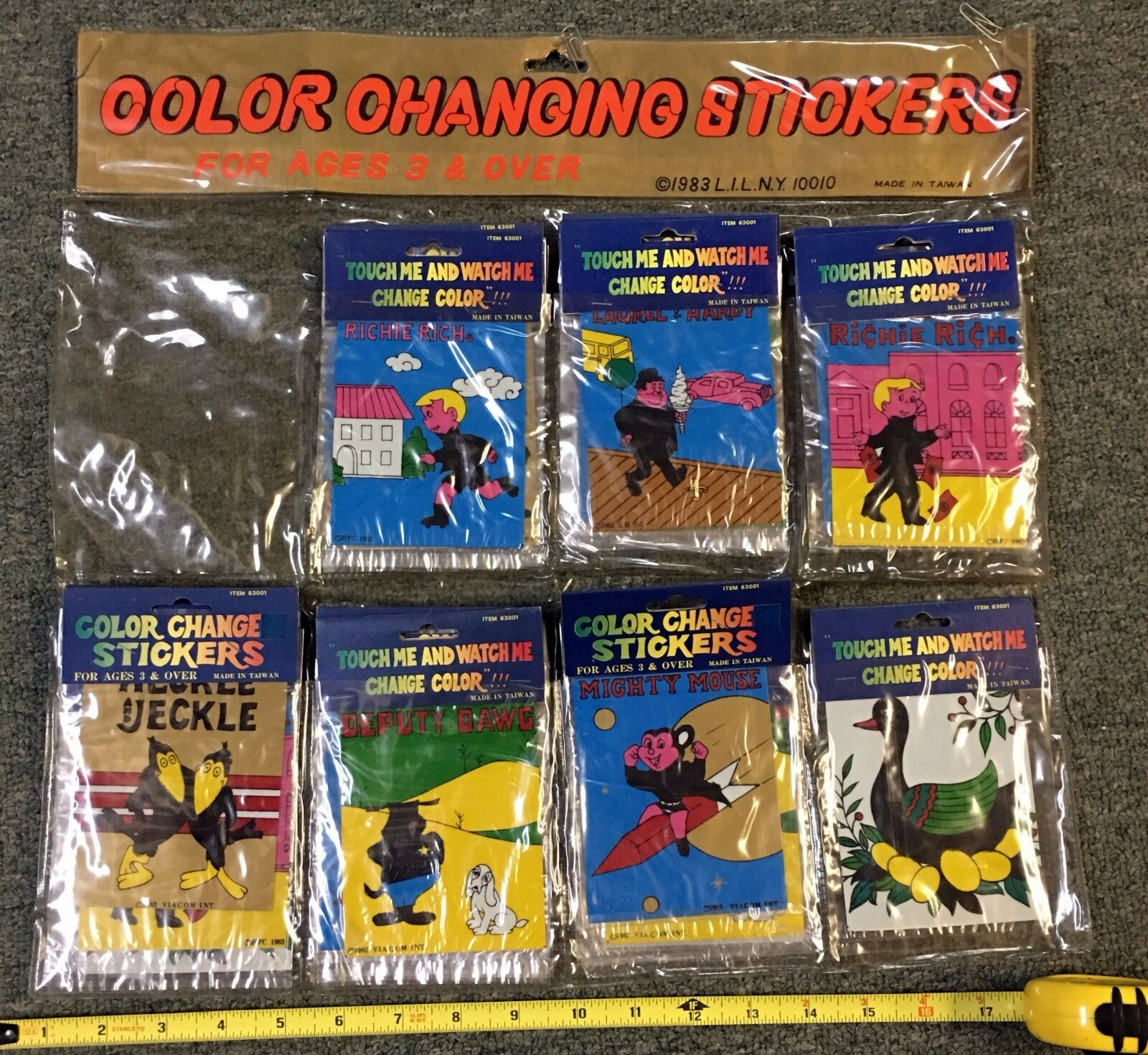 1983 Pegatinas de sellado por menor Pantalla Conjunto (27) Súper Ratón Heckle Jeckle Payaso +++