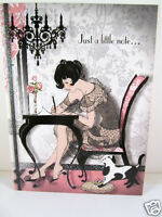 Pink Glam Girl Frou Frou Greeting Friendship Card Femme Fatale Womans Card