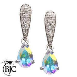 BJC-9ct-ORO-BIANCO-amp-Rodio-MISTICA-TOPAZIO-amp-Diamante-Pendente-Orecchini-a-perno