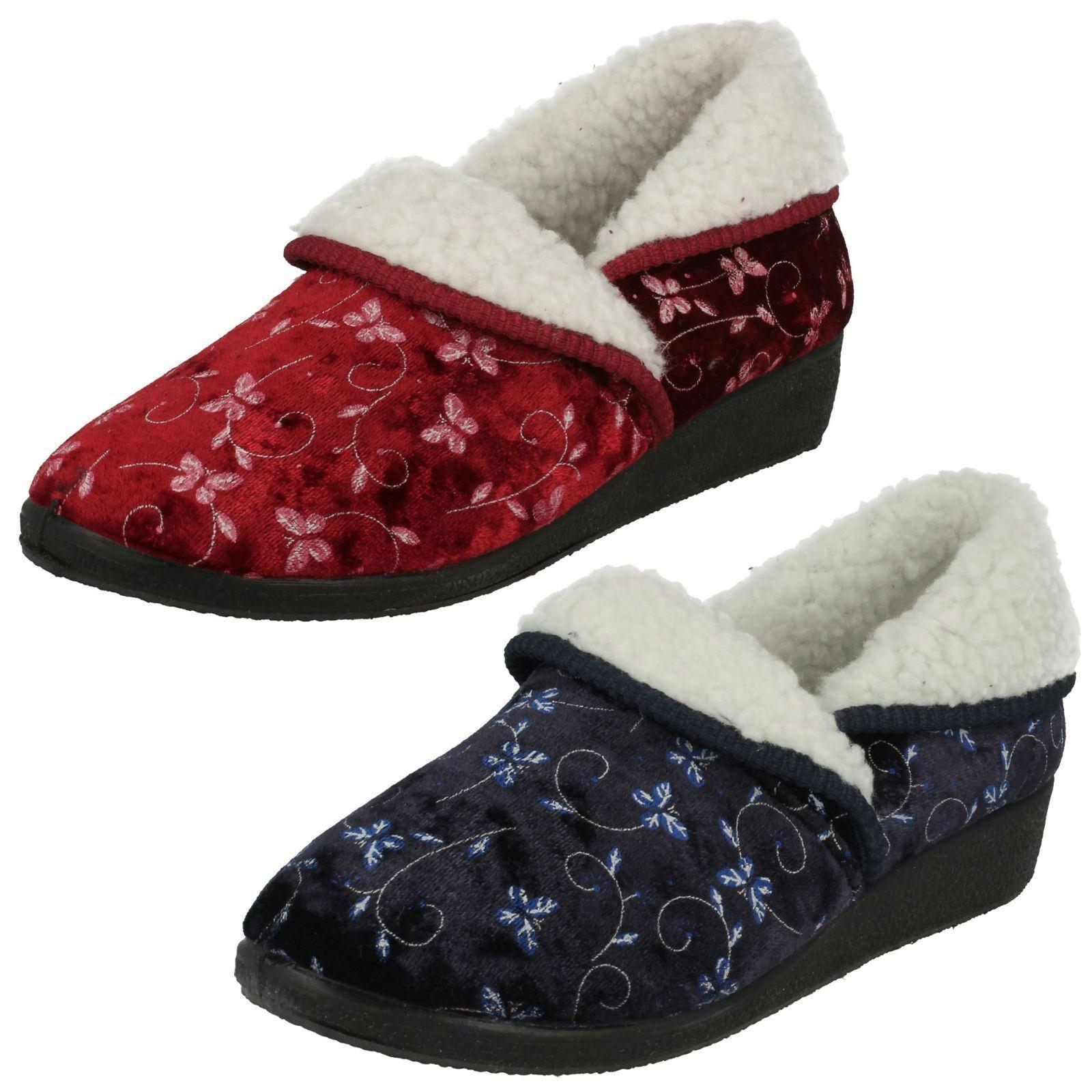 Ladies four seasons navy and burgundy slippers EDITH