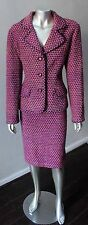 Talbots Boucle Tweed Wool Mohair Woven 2 Piece Blazer Pencil Skirt Purple Suit L