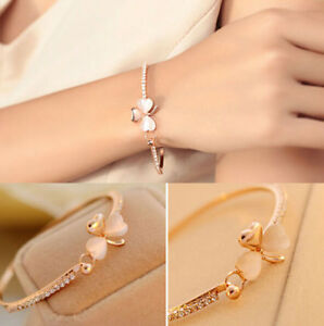 Women-fashion-Clover-beaded-Flower-Crystal-Gold-Plated-Cuff-Bracelet-Bangle-one