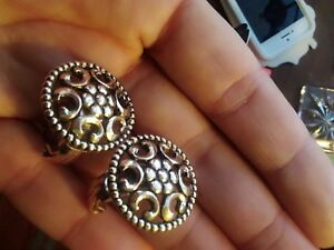 0225515aa0639 Details about VINTAGE Gold Colour Fancy Design Clip on EARRINGS - SO CLASSY
