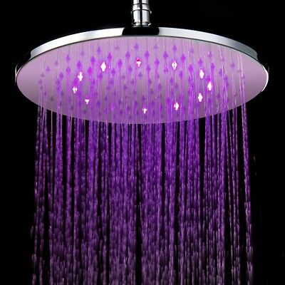 Mess verchromt LED Regenbrause Brausekopf Duschbrause 300 mm rund massiv