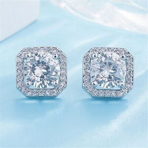 Crystal-Square-Stone-Stud-Earrings-925-Sterling-Silver-Womens-Jewellery-Gift-New
