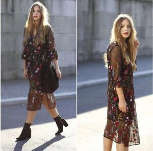 ZARA-Black-Floral-Embroidered-Dress-Long-Sleeves-Small-S-Midi-Flower-Pattern