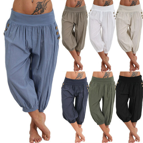 Womens Harem Trousers Crop Pants Leggings Ladies Baggy Aladdin Boho Hippy Plus