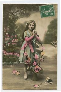 c 1912 Child Children PRETTY LITTLE GIRL French photo postcard