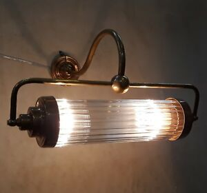 Old-Vintage-Art-Deco-Skyscraper-Brass-amp-Glass-Rod-Ship-Light-Wall-Sconces-Lamp