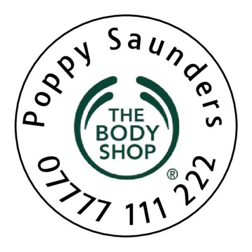 Personalised Labels Stickers for Body Shop Representatives Name Phone Number