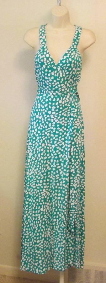 Diane von von von Furstenberg Samson Leopard Leaves Parakeet Green maxi wrap dress 8 DVF 998c92