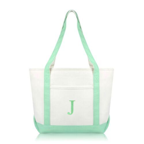 J DALIX Medium Personalized Tote Bag Monogrammed Initial Letter