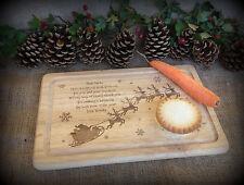 Personalized Engraved Wooden Santa & Reindeer Rudolph Snack Platter / Plate