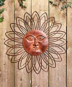 Details About 22 Rustic Brown Metal Wall Art Sun Face Indoor Outdoor Decor Fence Porch