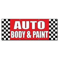 AUTO BODY & PAINT Auto Body Shop Car Repair Banner Sign 2' x 4' /w 4 Grommets