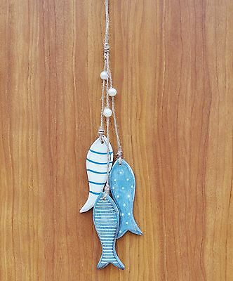 HANGING FISH SEASIDE NAUTICAL DECORATION  WOODEN BATHROOM BLUE